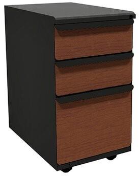 Marvel Office Furniture Zapf 3-Drawer Mobile Pedestal File Cabinet Drawer Finish: Collectors Cherry Laminate, Base Finish: Dark Neutral