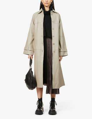 AllSaints Jumper overlay wool-blend and crepe midi dress