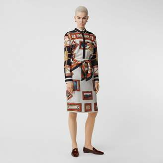 Burberry Scarf Detail Archive Scarf Print Silk Pencil Skirt