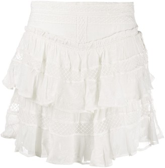 IRO Embroidered Tiered Mini Skirt