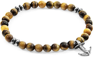 ANCHOR & CREW Brown Tigers Eye Starboard Silver And Stone Bracelet
