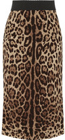 Dolce & Gabbana Leopard-print Stretch-silk Pencil Skirt - Leopard print