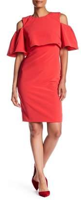 Monique Lhuillier Wide Sleeve Cold Shoulder Dress