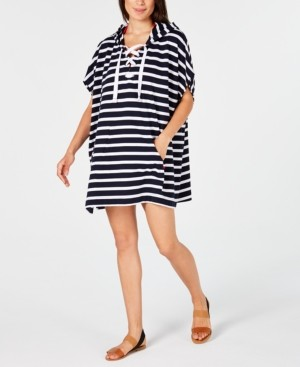 Tommy Hilfiger Striped Lace-Up Hooded Cover-Up Dress Women's Swimsuit