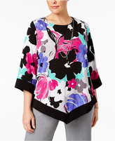 Alfred Dunner Plus Size Closet Case Collection Floral-Print Necklace Tunic