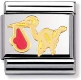 Nomination Stainless Steel, 18ct Gold and Enamel Pink Stork Classic Charm 030208/21