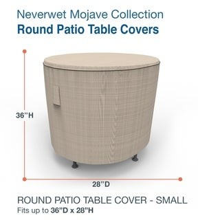 Budge Round Waterproof Outdoor Patio Table Cover, NeverWetA Mojave, Black Ivory, Multiple Sizes