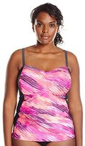 Free Country Women's Plus-Size Sun Streaks Side Panel Tankini