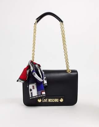 Love Moschino logo shoulder bag with scarf-Black