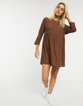 ASOS DESIGN long-sleeved smock mini dress in polka dot