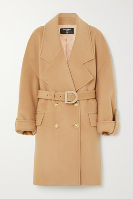 Balmain Button-embellished Double-breasted Wool And Cashmere-blend Coat - Neutral