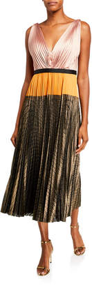 Catherine Deane Colorblock Sleeveless Pleated Midi Dress w/ Metallic Skirt