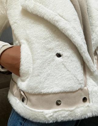 Qed London faux fur aviator jacket in cream