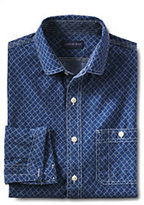 Classic Men's Tall Tailored Fit Print Chambray Shirt-Black