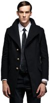 Liveinu Men's British Single Breasted Slim Wool Coat with Hood 3XL