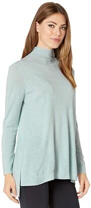 Eileen Fisher Scrunch Neck High-Low Tunic (Clearwater) Women's Clothing
