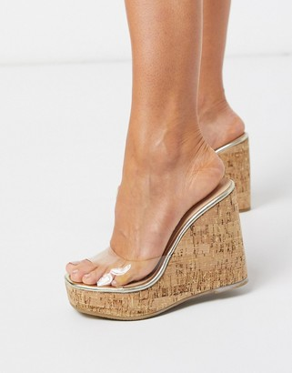 London Rebel clear strap platform cork wedges in gold