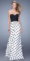 La Femme Polka Dot Bandage Prom Dress