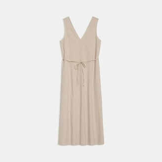 Theory Deep V Midi Dress in Linen Blend