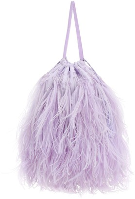 ATTICO Embellished Feather Drawstring Clutch