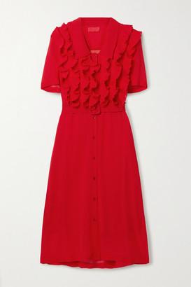 Commission Belted Ruffled Chiffon Midi Dress - Red