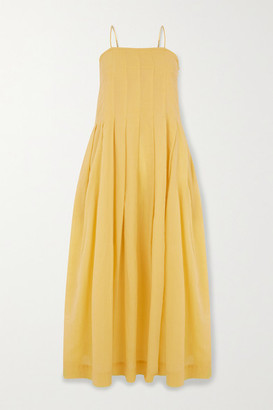Three Graces London Lucia Pleated Cotton-voile Maxi Dress - Yellow