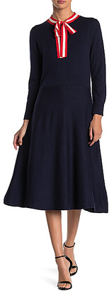 J.Crew Women's Casual Dresses NAVY - Navy & Ivory Alice Tie-Neck Sweater Dress - Women