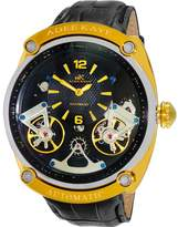 Adee Kaye Men's Power 45.56mm Black Leather Band Automatic Watch Ak2288-Mgbk