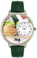 Whimsical Watches Women's U1420005 Unisex Silver Italy Hunter Green Leather And Silvertone Watch