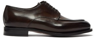Santoni Colin Leather Derby Shoes - Mens - Dark Brown
