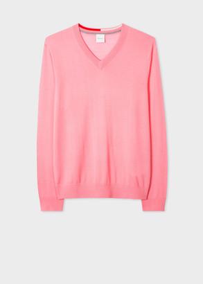 Paul Smith Men's Light Pink Merino Wool V-Neck Sweater