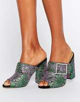Asos HARLEQUIN Jewelled Buckle Heeled Mules