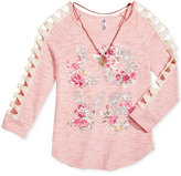 Beautees Floral-Graphic Crochet-Sleeve Top with Attached Necklace, Big Girls (7-16)