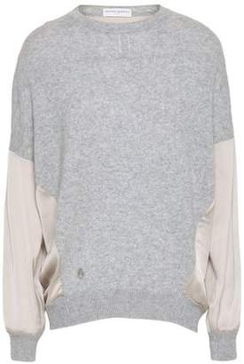 Amanda Wakeley Satin-paneled Cashmere And Wool-blend Sweater