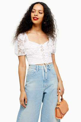 Topshop Womens Petite Ivory Tie Up Lace Crop Top - Cream