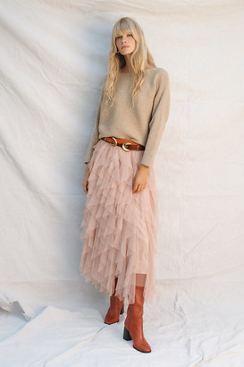 Anthropologie Tesia Ruffled Tulle Midi Skirt By in Pink Size L