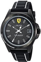 Ferrari Men's 'Pilota' Quartz Stainless Steel and Rubber Casual Watch, Color:Black (Model: 830422)
