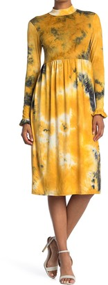 Velvet Torch Long Sleeve Mock Neck Midi Dress