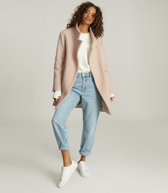 Reiss SICILY WOOL BLEND MID LENGTH COAT Pale Pink