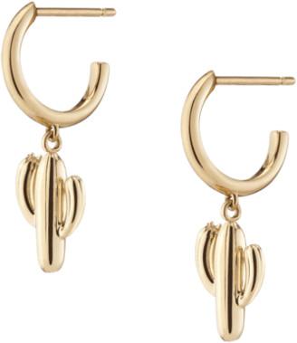 AUrate New York Gold Cactus Huggie Earrings