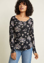 Refresh your layering game with this black henley from our ModCloth namesake label! A wide neckline, pewter-style buttons, and a feminine floral print atop snuggly waffle knit fabric equip this long-sleeved piece with infinite outfitting potential.