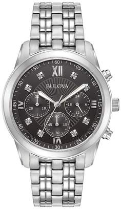 Bulova Classic Standard Diamond Stainless Steel Bracelet Chronograph Watch