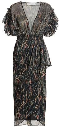 IRO Gargas Metallic Print Faux Wrap Midi Sheath Dress