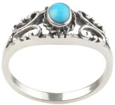 Journee Collection 1/4 CT. T.W. Oval-cut Turquoise Scroll Accent Bezel Set Ring in Sterling Silver - Blue