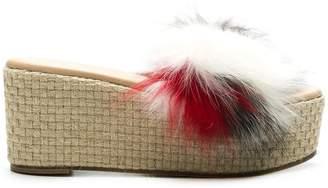 Solange fur trimmed wedge sandals