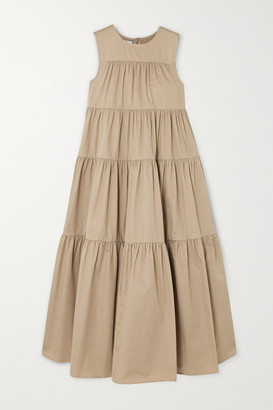 Co Tiered Cotton-sateen Midi Dress - Taupe