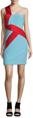 Versace One-Shoulder Banner Silk Sheath Dress