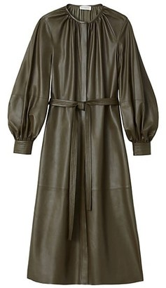 Lafayette 148 New York Florentina Leather Puff-Sleeve Shirtdress