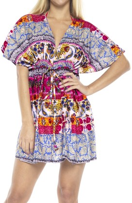 LA LEELA Ladies Printed Beach Wraps and Cover ups Women's Bohemia Beach Dress Short Sleeves Boho Drawstring Swimwear for Holiday Beachwear Cotton Bikini Loose Bathing Suit Blood Red_V642