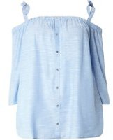 Dorothy Perkins Womens DP Curve Plus Size Blue Chambray Bardot Top- Blue